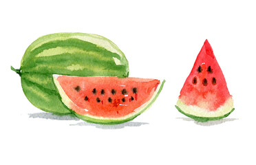 Watermelon set isolated on white background, watercolor illustration