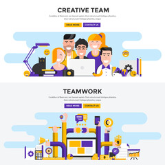 Flat design concept banners - Creative Team and Teamwork