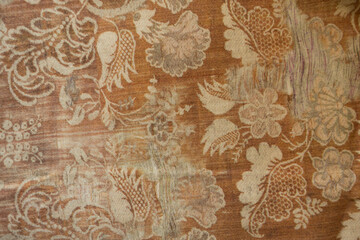 Ginger brown cotton cloth with floral pattern