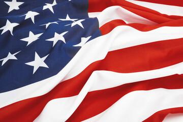 Close up studio shot of USA flag. Filtered image: cross processed vintage effect.