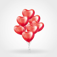 Heart Red transparent balloon on background.