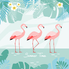 Flamingos with tropical background, vector illustration