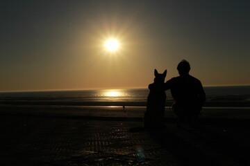 Chien et son maître regarde le coucher de soleil sur la plage
