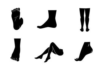 Legs, boots feet icon set. Vector art.