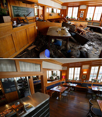 "A combination photo shows the restaurant ""Zum Loewen"" (at the Lion's) on May 30, 2016 (top) after a mud and gravel avalanche hit the village of Braunsbach and one year later as renovations are under way in Braunsbach"