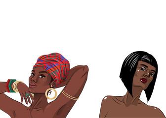 African american black beauty woman portrait.