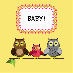 Baby shower card, invitation card, birthday card with cute owl's family