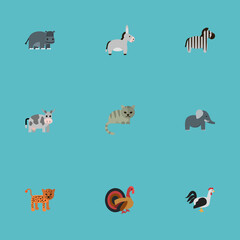 Flat Kine, Hippopotamus, Horse And Other Vector Elements. Set Of Alive Flat Symbols Also Includes Trunk, Bird, Cock Objects.