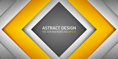 Abstract volume rhombus background, yellow inside, cover for project presentation, vector design