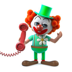 3d Funny cartoon crazy clown character answers the phone