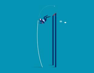 Fototapeta Pole vaulter. Business jumping over rising. Concept business success vector. obraz