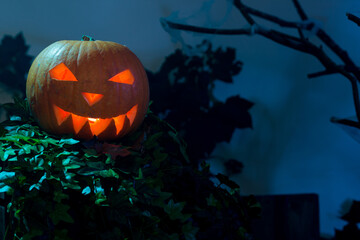 Lighted Halloween Pumpkin with Copy Space