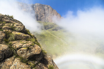Rainbow inside clouds on Sentinel Hike, Drakensberge, South Africa Wall mural