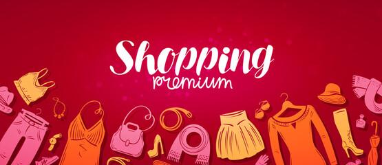 Shopping, boutique banner. Fashion store concept. Vector illustration