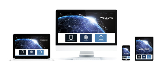 Wall Mural - realistic devices isolated with landing page