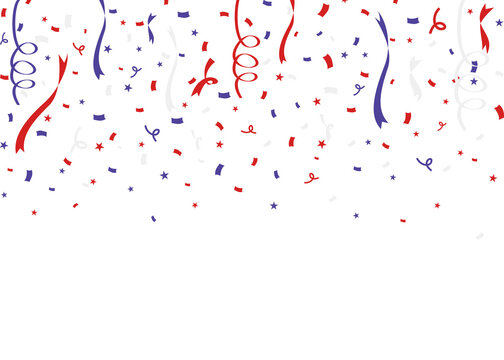 USA flag colors themed confetti on white background