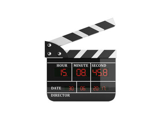 movie clapper board high quality 3d render on white no shadow