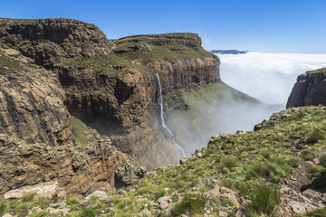 Waterfall at the top of Sentinel Hike, Drakensberge, South Africa