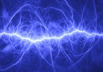 Blue plasma, abstract electric lightning