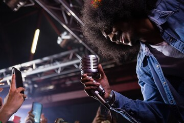 Singer performing on stage