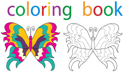 book coloring butterfly with an example