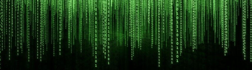 Green Binary Matrix Background