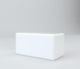 White pedestal in light studio. 3d rendering background
