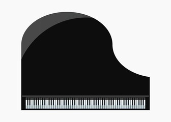 Top View of Black Grand Piano