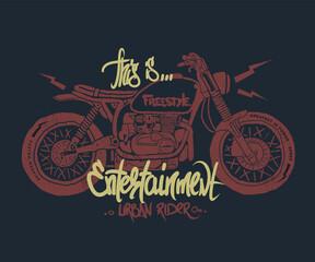Motorcycle hand drawn t-shirt print
