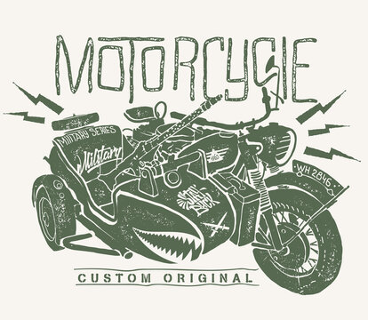 Military Motorcycle whith sidecar hand drawn t-shirt print