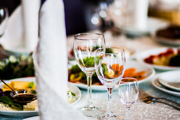 Glasses on banquet table
