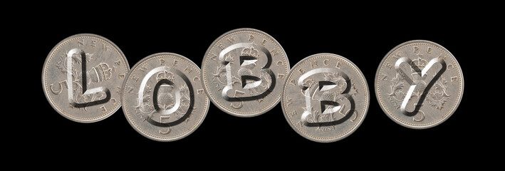LOBBY – Coins on black background