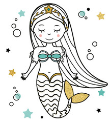 Cute Mermaid character in hand drawn style. vector illustration