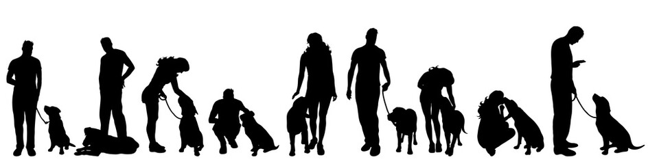 Vector silhouette of people with dog on white background.