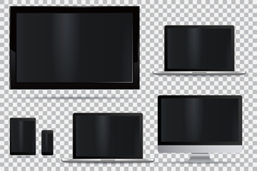 Set of realistic TV, lcd, led, computer monitor, laptop, tablet and mobile phone