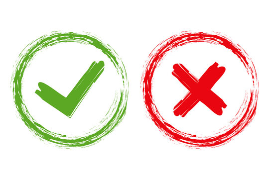 Tick and cross brush signs. Green checkmark OK and red X icons, isolated on white background. Simple marks graphic design. Symbols YES and NO button for vote, decision, web. Vector illustration