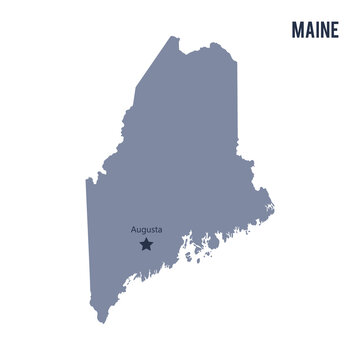 Vector map State of Maine isolated on white background.
