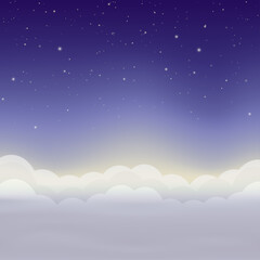 Night sky with stars and clouds. Vector background