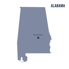 Vector map State of Alabama isolated on white background.