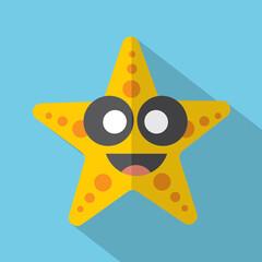 Modern Flat Design Starfish Icon Vector Illustration