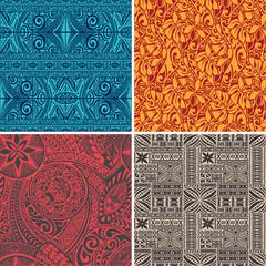Set of 4 vector seamless pattern in polynesian hawaiian style