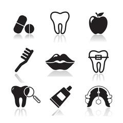 Dental and Orthodontics Flat Icons Set