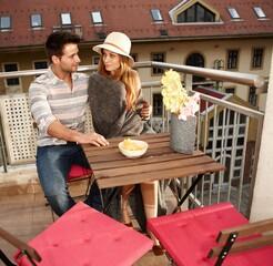 Romantic evening on balcony