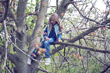 Girl on the tree, playing, climbing