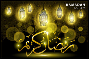 Ramadan Kareem gold greeting card on background. Vector illustration.