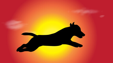 Vector silhouette of dog who jump at sunset.