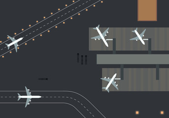 Top down view of an airport terminal and runways. Illustration of a airport. White planes, dynamic composition. Nice clean image.