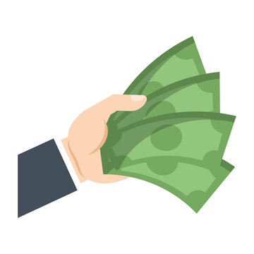 hand with money bills icon over white background. colorful design. vector illustration