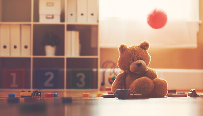 Teddy bear inside a child's play room