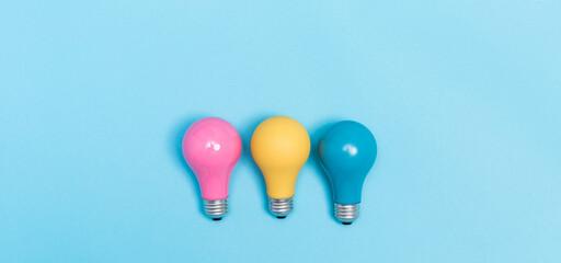 Wall Mural - Colored light bulbs